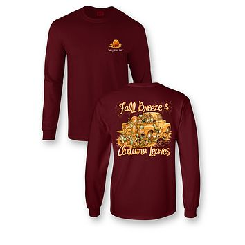 Sassy Frass Fall Breeze Autumn Leaves Pumpkin Truck Bright Garnet Long Sleeve T Shirt
