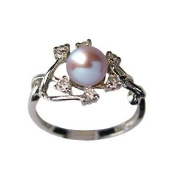 Entwining Vine Cultured Pearl Cubic Zirconia Silver Ring, Lavender (Size 8)