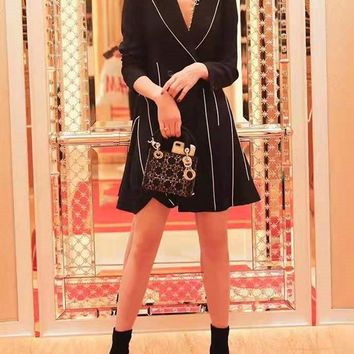 Women Clothes Black White Edgy Fashion All-match Cute Casual Simple Cool Knotted Long Sleeve Lapel Coat Dress