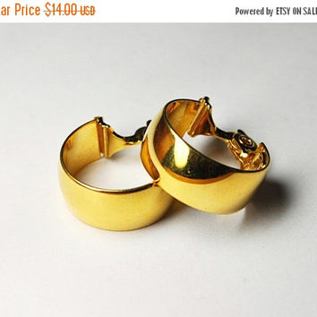 ON SALE Vintage MONET Gold Hoop Clip Earrings, Shiny Gold, Gold Hoops, Thick, Chunky, Classic 70's Hoops!  #B187