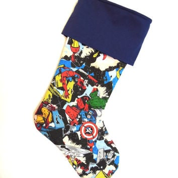 Comic Book Marvel Superhero Christmas Stocking
