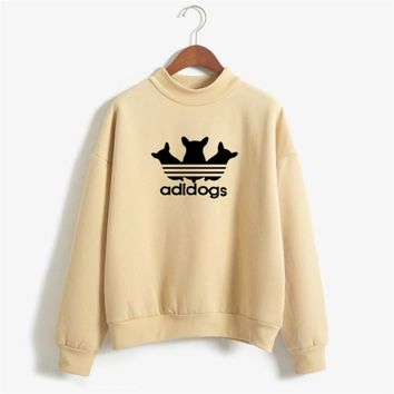 2017 candy color Autumn Winter Hoodies  Adidogs Women Letter  printed  Pullover Fashion Casual  Woman Fleece Sweatshirt