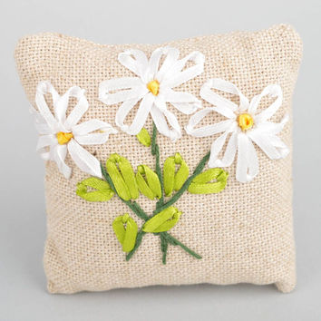 Beautiful handmade linen fabric interior pillow with satin ribbon embroidery