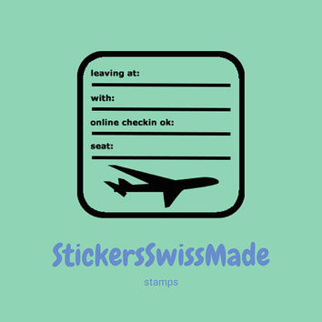 PLANNER STAMPS | airplane trip info | 30x30mm || for your planner and bullet journals || self inking ||easy to use