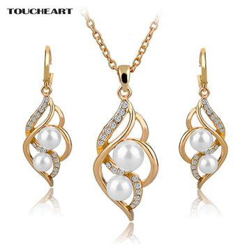 NEW Pearl Indian Jewelry Sets for Bridal Crystal Gold Earrings Statement Necklaces