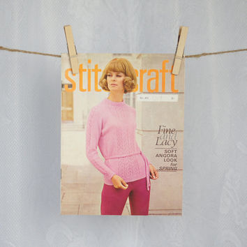 "1960s Stitchcraft Magazine ""Fashion to Knit for Spring"" 1968 Pattern Book including Knitting, Crochet, Embroidery, Rugmaking & Crafts"