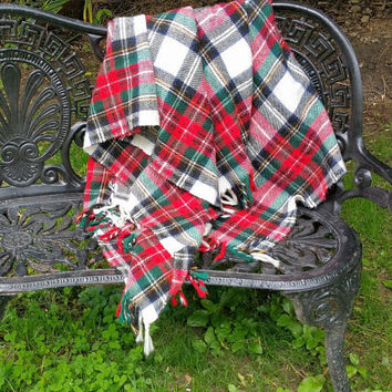 White Tartan Plaid Stadium Blanket  Acrylic Afghan Throw