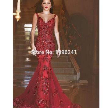 2016 New Red Evening Dress Robe De Soiree Abiye Long Gown Formal  Kaftan Abendkleider Applique Sequins Sparkly Sling Lace