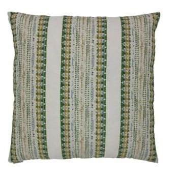 "24"" x 24"" magi green striped print throw pillow with a feather/down insert and zippered removable cover"