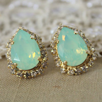 Mint Crystal big teardrop stud earring - 14k plated gold post earrings real swarovski rhinestones .