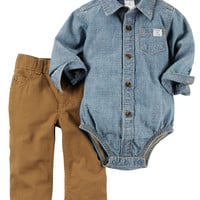2-Piece Chambray Button-Front Bodysuit & Pant Set