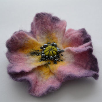 Light Purple Violet Yellow Soft Pink Poppy Wool Felted Flower Pin,Flower Brooch,Floral Statement Accessory, Poppy Pin Brooch, Corsage Brooch