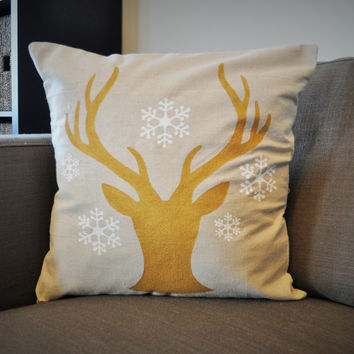 Deer Head Silhouette with snowflakes Christmas pillow cover