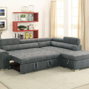 Poundex F6550 3 pc Madison collection slate grey breathable leatherette upholstered sectional sofa set with pull out sleep area