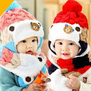 Baby Warm Hat and Scarf Set Toddler Kids Boys Girls Crochet Knitted Hats Infant Ear flap Beanies Caps