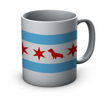 Chicago Flag Dachshund Ceramic Mug  - Chicago Coffee Mug - Dachshund Mug - Dog Mug - Coffee Cup - Gift for Dachshund Lovers - Doxie Mug