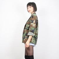 Vintage US Army Shirt Camo Shirt Camo Jacket Army Jacket Camouflage Jacket Camouflage Shirt Green Brown With Patches Grunge American L Large