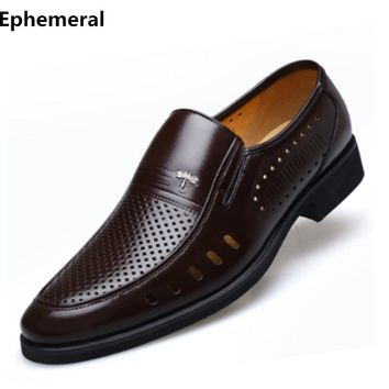 Man shoes cow leather genuine cut-outs slip-on breathable loafers 2017 men shoes for wedding business plus size 48-7 brown black