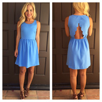 Divine Scallop Back Dress- PERIWINKLE
