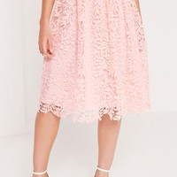 Missguided - Crochet Lace Full Midi Skirt Pink