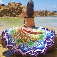 Hippie Rounded Tapestry Indian Wall Hanging Beach Bathing Throw Towel Yoga Mat Blue Plaid And Big Flowers Tassels