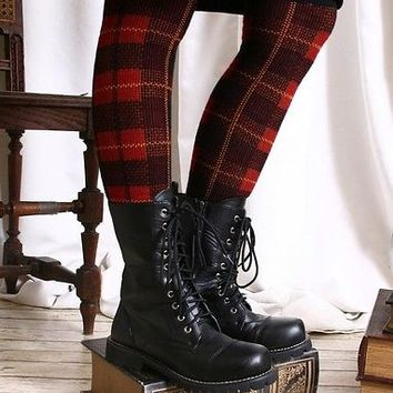 Punk Preppie School Uniform Thermal Leg Warmer Brick Red Tartan Plaid Check