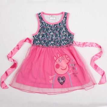 PEAPUG3 baby girl dress peppa pig  cotton sleeveless lace girl dress with  waistband = 1930007300