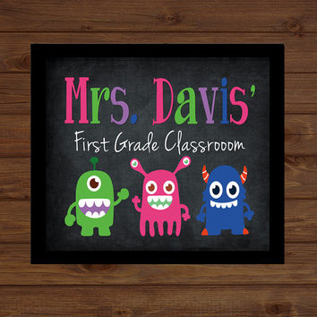 Monster Teacher Sign Back to School Custom Personalized - Classroom Decor/Gift - Wooden Sign  Plaque Holiday Decor Gift Sign Wood Art