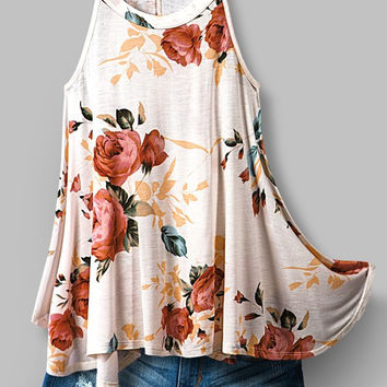 High Neck Floral Ivory Blush Flowy Tank Top