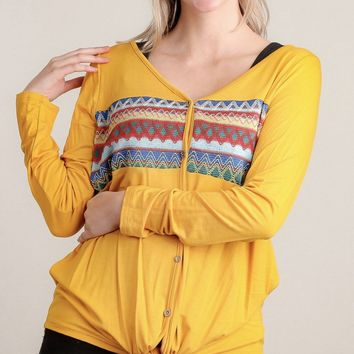Ask Me Later Embroidered Blouse in Mustard