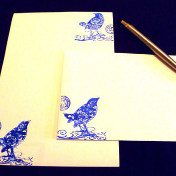Birds Stationery Set - Italianate Bluebirds Writing Paper with matching envelopes - Letter writing set - Bird Stationery - Quirky present