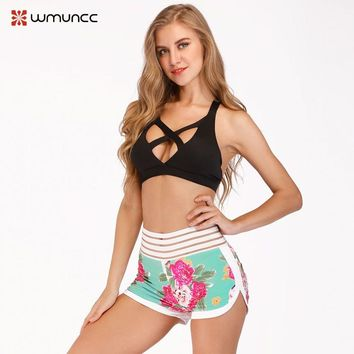 Women Running Shorts Gym Cool Woman Stripe Sexy Sport Elasticity Short Girl Fitness Yoga Sportswear Workout Sexy Athletic