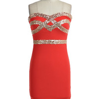 Crown Jewels Sweetheart Dress - Red