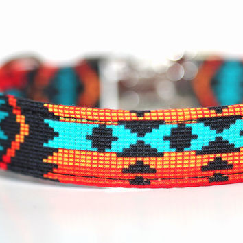 Native American dog collar - Navajo Collar - Aztec in Orange