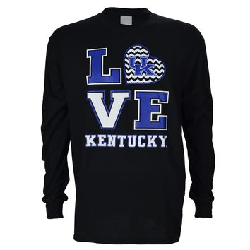 University of Kentucky Love KY on Long Sleeve Black T Shirt