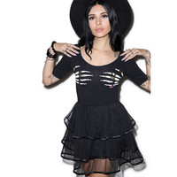 Skeleton Hands Black Mesh Flounced Skater Dress