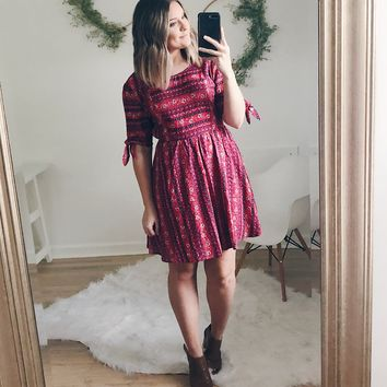 Lori Striped Paisley Print Dress