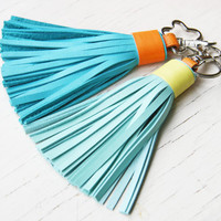 Leather Bag Charm Tassel Keychain Tassel Key Ring With Clasp Accessorie For Bag Tassel Charm Blue READY TO SHIP