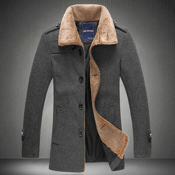 Shop Coat With Fur Collar For Men on Wanelo
