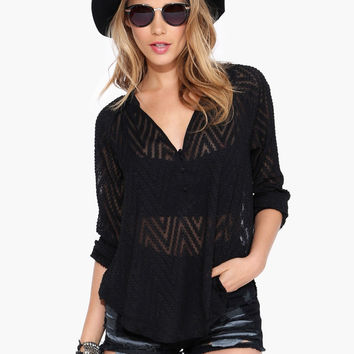 Black V-Neck Sheer Lace Loose Blouse