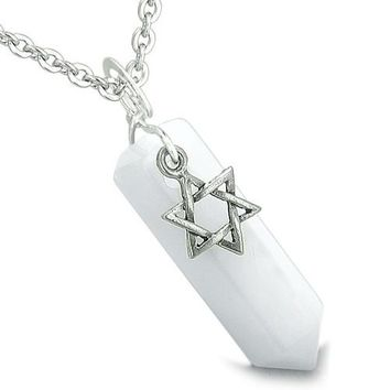 Amulet King of Solomon Star of David Crystal Point Magic Charm Jade Spiritual Pendant Necklace