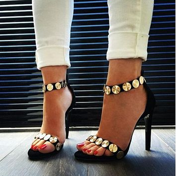 Circle Metal Decorate Ankle Wrap Suede Stiletto High Heels Sandals