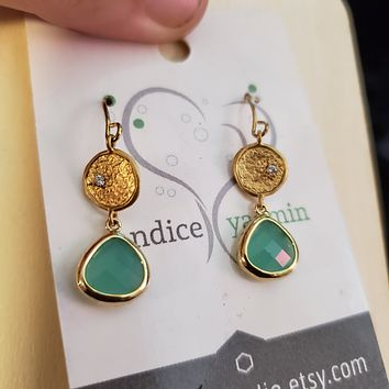 Dainty mint and gold earrings