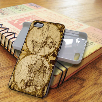 Nauctical Brown World Map iPhone 5C Case