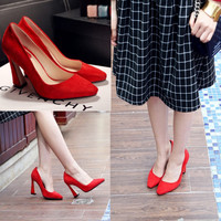 Korean Leather High Heel Plus Size Pointed Toe Low-cut Shoes [4919286660]