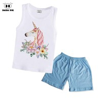 DMDM PIG Baby Girls Clothes Set Cartoon Unicorn Print Clothing Summer Toddler Sports Suit Size 4T 2 3 4 5 6 Years Vest + Pants
