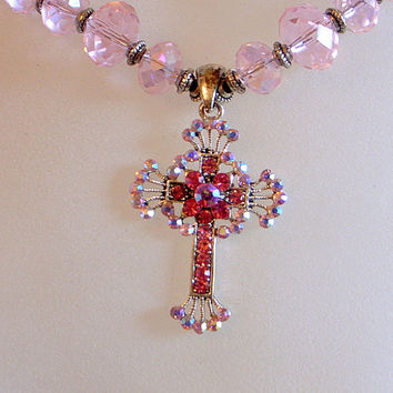 Pink Crystal Cross With Rhinestones - God Loves You Cross Pendant Necklace - Pink Wedding