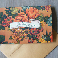 hf thinking of you card | ink embossed vintage floral 5x7 greeting card | sympathy, all occasion | ochre, mustard yellow