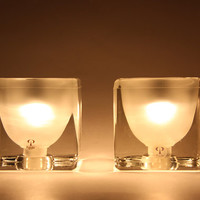 Mid Century German Pair of Satin / Clear Crystal Glass Table Cube Lamps - Peill & Putzler 70s