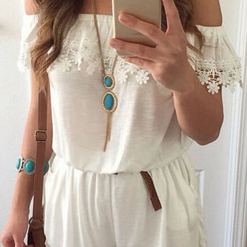 White Slash Collar Frilled Romper with Lace Detail
